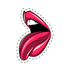 Pink lips tongue pop art retro poster element.  illustration isolated on white