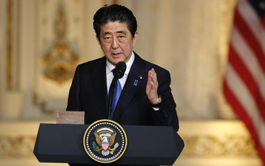 U.S. President Trump hosts a joint press conference with Japan's Prime Minister Abe in Palm Beach