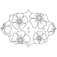 decorative arabic frame with floral design, black and white design. vector illustration