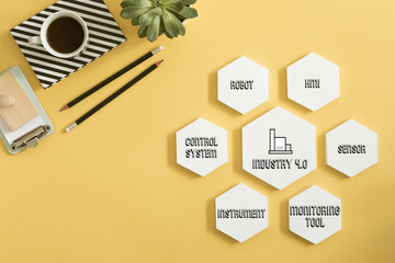Industry 4.0 concept of modern process. Creative approach to management project. Yellow background.