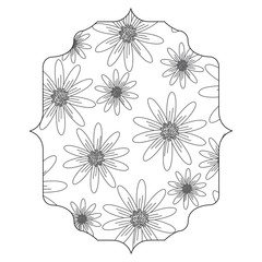 decorative arabic frame with floral design, black and white design. vector illustration