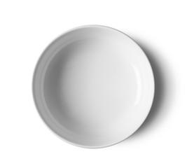 top view white bowl on white background