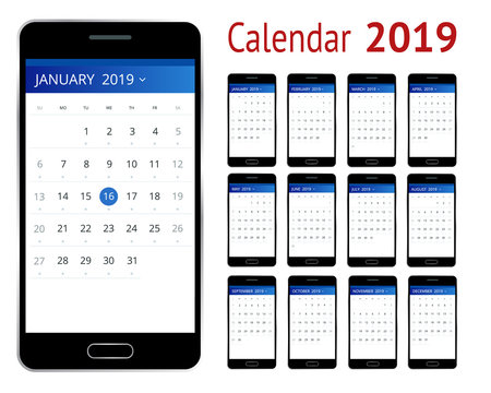 Vector Calendar for 2019 year. Smartphone with a calendar, one month plans. Design print template. Set of 12 calendar pages.