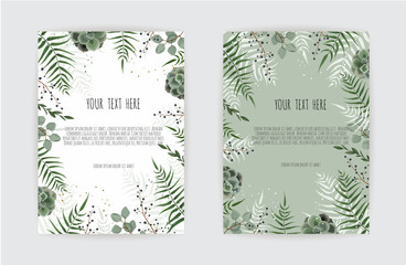 Set of card with green leaf , eucalyptus branches, decorative wreath frame pattern. Floral poster.