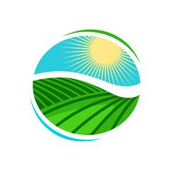 Plantation, agriculture logo or label. Vineyard, farming icon. Vector illustration