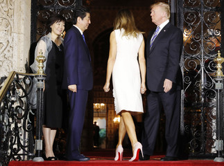 U.S. President Trump and first lady Melania Trump dine with Japan's Prime Minister Abe and Abe's wife Akie in Palm Beach