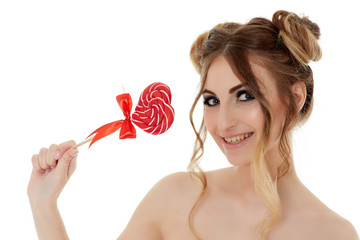 Young woman with lollipop.