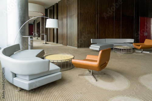 Modern hotel lobby with hallway or office lounge room. interior with