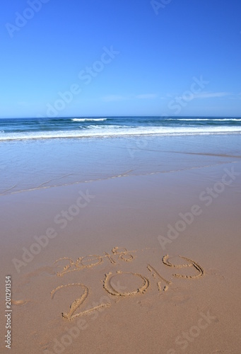 happy new year 2019 replace 2018 lettering on the beach new year 2019 is