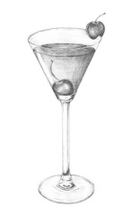 Hand-drawn cocktail drink