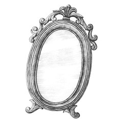 Hand drawn mirror isolated on background