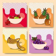 fruits bowls set fresh delicious dieting healthy vector illustration