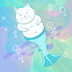 Pretty Cat Mermaid Underwater.