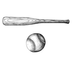 Baseball bat and ball vintage style illustration
