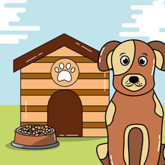 dog pet sit with wooden house and food bowl vector illustration