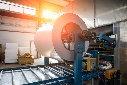 Industrial galvanized steel roll coil for metal sheet forming machine in metalwork factory workshop