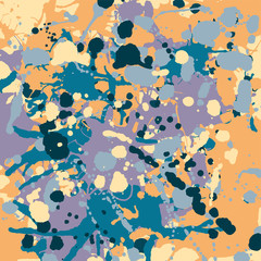 Orange, blue, purple, beige ink splashes camouflage background square