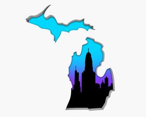 Michigan MI Skyline City Metropolitan Area Nightlife 3d Illustration