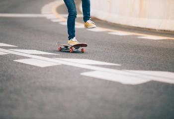 Skateboarder sakteboarding on highway
