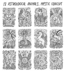 Collection with twelve astrological animals. Fantasy engraved illustrations for t-shirt, print, card, tattoo design. Zodiac creatures of eastern calendar, mysterious monochrome background