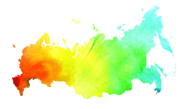 Abstract watercolor Russia map design