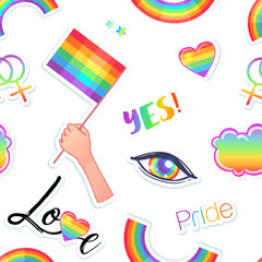 LGBT logo symbols stickers seamless pattern. Flags, hearts. Badges, pins, patches, icons in rainbow colors. Gay pride collection, accessory kit. Colorful pride designs.