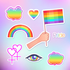 Love wins. LGBT logo symbols stickers. Flags, hearts. Badges, pins, patches, icons in rainbow colors. Gay pride collection, accessory kit. Colorful pride designs.