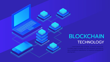 data storage servers, blockchain technology isometric