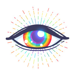 Rainbow colored eye. Flag of LGBT community inside eyeball. Vector illustration  for sticker, pin, poster, patch, t-shirt prints.