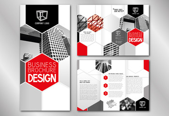 Business trifold brochure template (A4 to DL format) - modern office buildings/ skyscrapers, red graphics.