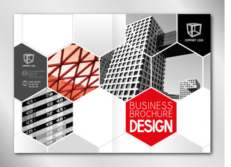 Business brochure template (A4 format - front and back cover) - modern office buildings/ skyscrapers, red graphics - great for annual report.