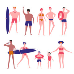 People at beach vector flat isolated icons