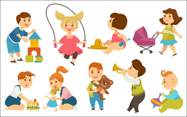 Kids children playing toys and games on playground vector cartoon