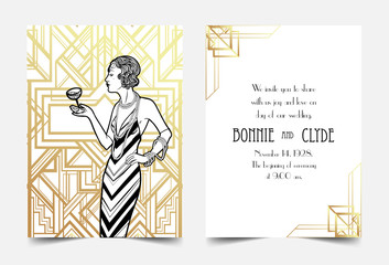 Art Deco vintage invitation template design. patterns and frames. Retro party geometric background set (1920's style). Vector illustration,  thematic wedding or jazz party.