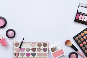 collection of make up and cosmetic beauty products arranged