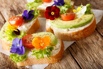 Organic healthy sandwiches with avocado, lettuce, tomatoes, edible flowers and cream cheese close-up. horizontal