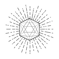Sacred geometry. Icosahedron line drawing with rays, platonic solid. Blackwork tattoo flash. religion, spirituality, occultism. Isolated