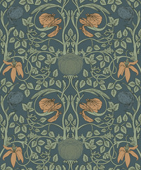 Floral vintage seamless pattern for retro wallpapers. Enchanted Vintage Flowers. Arts and Crafts movement inspired. - 201304377
