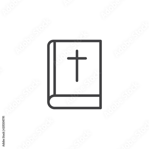 Bible Book With Cross Outline Icon Linear Style Sign For Mobile