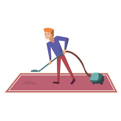 Man vacuuming carpet at home illustration