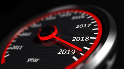 New year 2019 car speedometer. 3d illustration