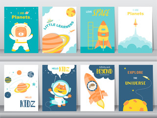 Set of cute animals poster,Design for kid cards,Vector illustrations.