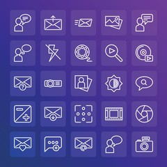 Modern Simple Set of chat and messenger, video, photos, email Vector outline Icons. ..Contains such Icons as  document,  heart,  add and more on gradient background. Fully Editable. Pixel Perfect.