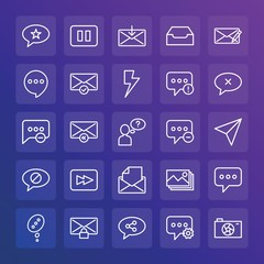 Modern Simple Set of chat and messenger, video, photos, email Vector outline Icons. ..Contains such Icons as  get,  picture, message and more on gradient background. Fully Editable. Pixel Perfect.