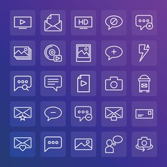 Modern Simple Set of chat and messenger, video, photos, email Vector outline Icons. ..Contains such Icons as message,  close,  rotate and more on gradient background. Fully Editable. Pixel Perfect.
