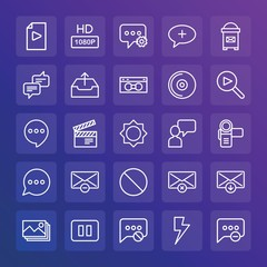 Modern Simple Set of chat and messenger, video, photos, email Vector outline Icons. ..Contains such Icons as  block, outdoors,  envelope and more on gradient background. Fully Editable. Pixel Perfect.