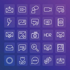Modern Simple Set of chat and messenger, video, photos, email Vector outline Icons. ..Contains such Icons as  message,  outline,  lens and more on gradient background. Fully Editable. Pixel Perfect.