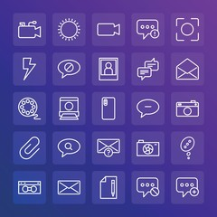 Modern Simple Set of chat and messenger, video, photos, email Vector outline Icons. ..Contains such Icons as  problem,  talk, light and more on gradient background. Fully Editable. Pixel Perfect.