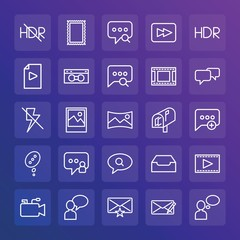 Modern Simple Set of chat and messenger, video, photos, email Vector outline Icons. ..Contains such Icons as  web, hdr,  icon,  cinema and more on gradient background. Fully Editable. Pixel Perfect.