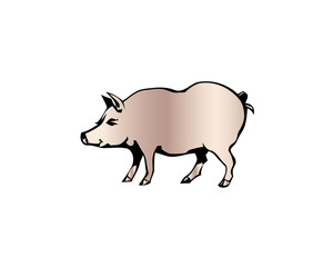 Cheerful pig. Funny pig vector. Domestic isolated mammal, agriculture cute pink pig.
